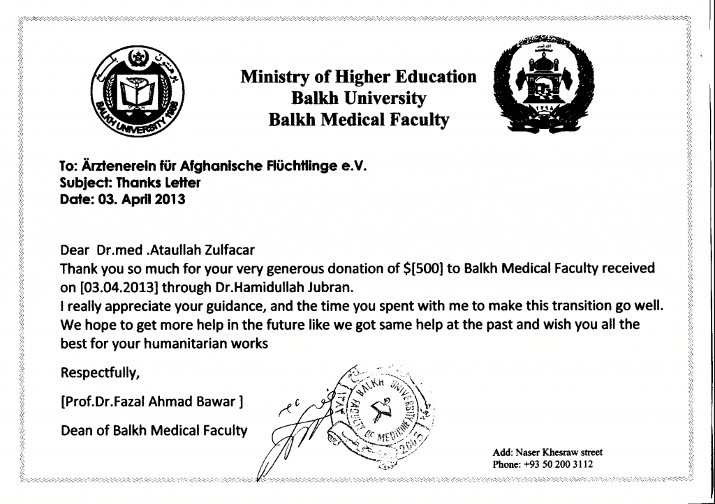 University of Balkh - Donation
